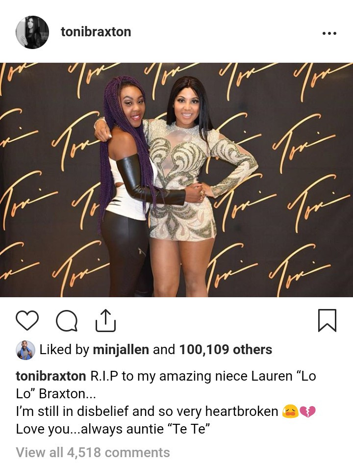 Toni Braxton mourns her niece who died of a heart condition at 24