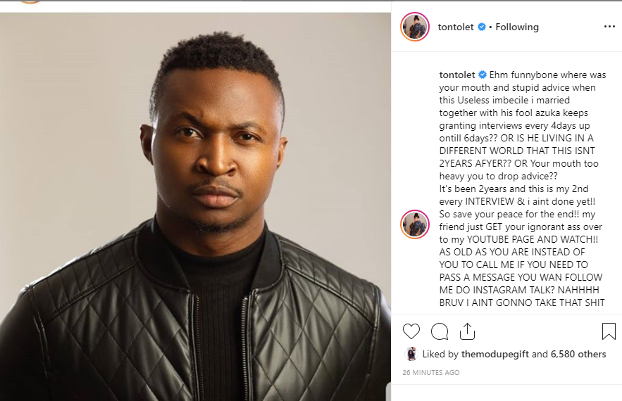 Tonto Dikeh hits back at comedian Funny Bone for commenting on her marriage saga (Screenshot)