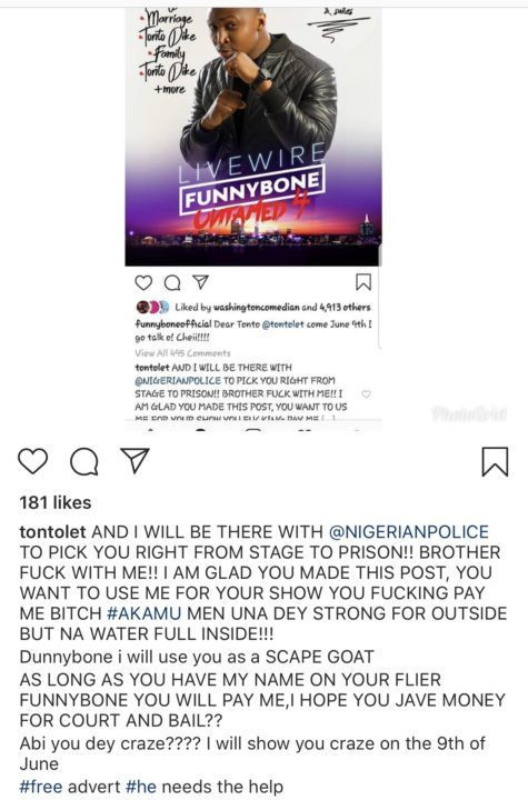 Tonto Dikeh vows to arrest comedian Funny Bone next month (Screenshot)