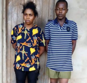 Photo: Police arrest lady who lured man she met on Facebook and arranged for him to be robbed in Imo