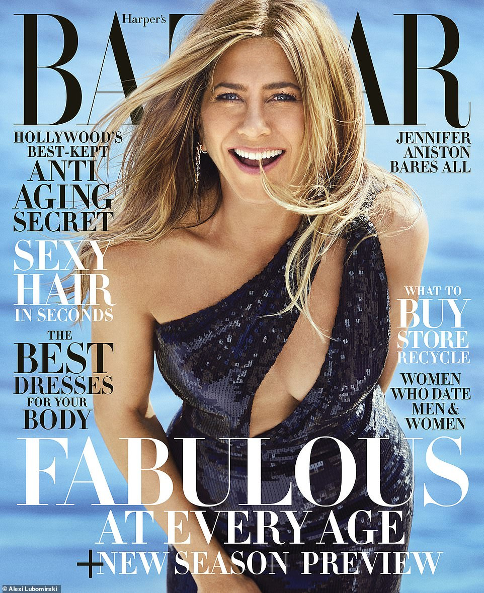 Jennifer Aniston, 50, poses topless for US Harper