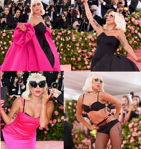 Lady Gaga wore four outfits to the Met Gala, stripping  each outfit off to reveal the next before ending with a risque lingerie