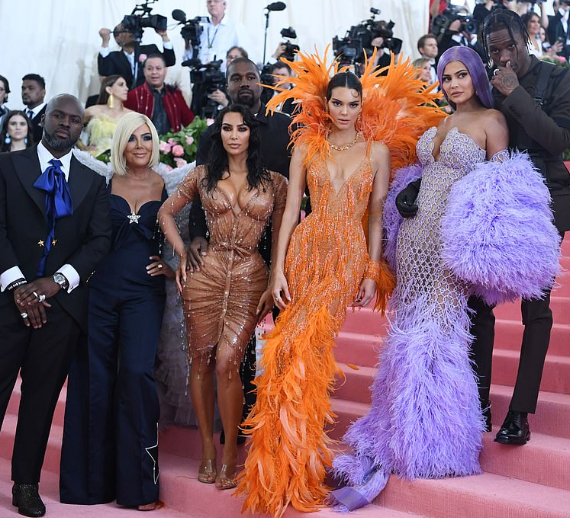 The Kardashian/Jenner family members and their partners pictured at the Met Gala