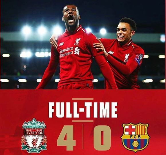 Liverpool decimate Barcelona 4-0 to qualify for UEFA Champions League final