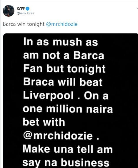 Kcee loses?1million naira bet following Barcelona