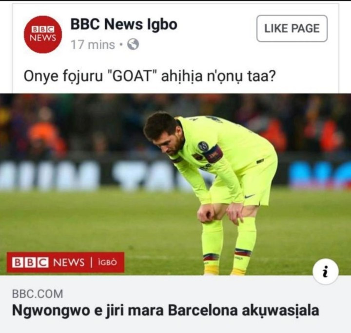Lol. BBC Igbo shows Messi no mercy as they report on Barcelona