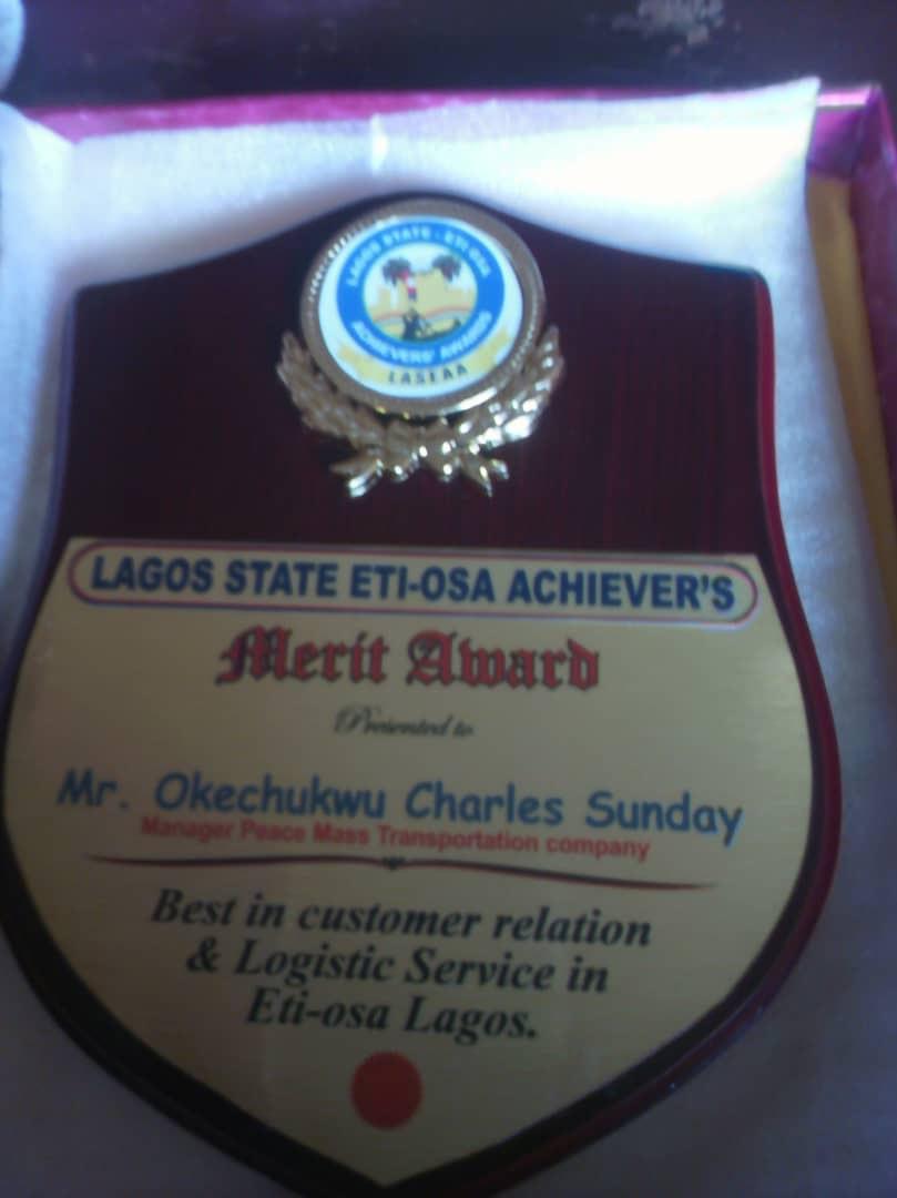 Eti-Osa Achievers Honours Peace Mass Transit Manager