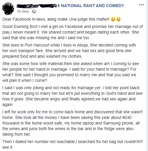 Nigerian man explains what a lady he met on Facebook did to him after he jokingly proposed marriage, had sex with the lady and then withdrew the proposal