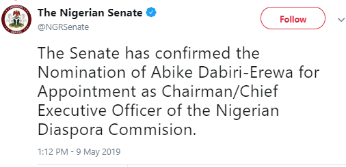 Senate confirms Abike Dabiri-Erewa as Chairman of Nigerian Diaspora Commission