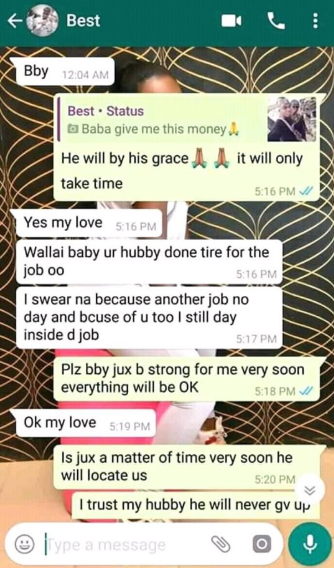 Heartbreaking final chats between soldier and his wife before he was killed by Boko Haram (screenshots)
