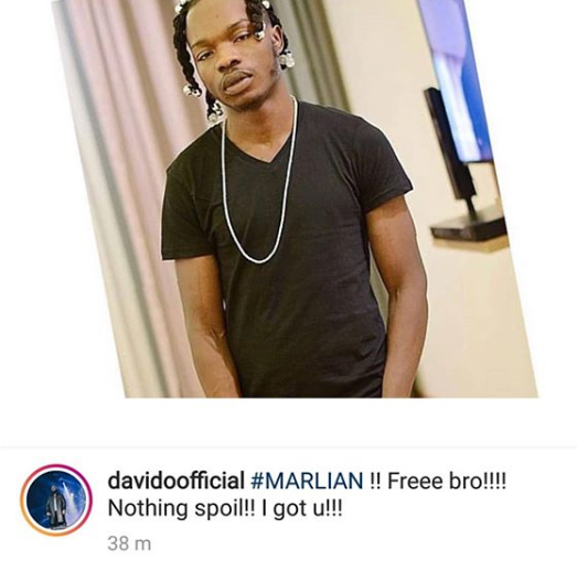 Davido reacts to arrest of singer, Naira Marley by EFCC operatives