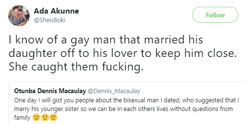 Twitter stories: Nigerian man reveals his bisexual boyfriend asked him to marry his younger sister so they could keep their relationship