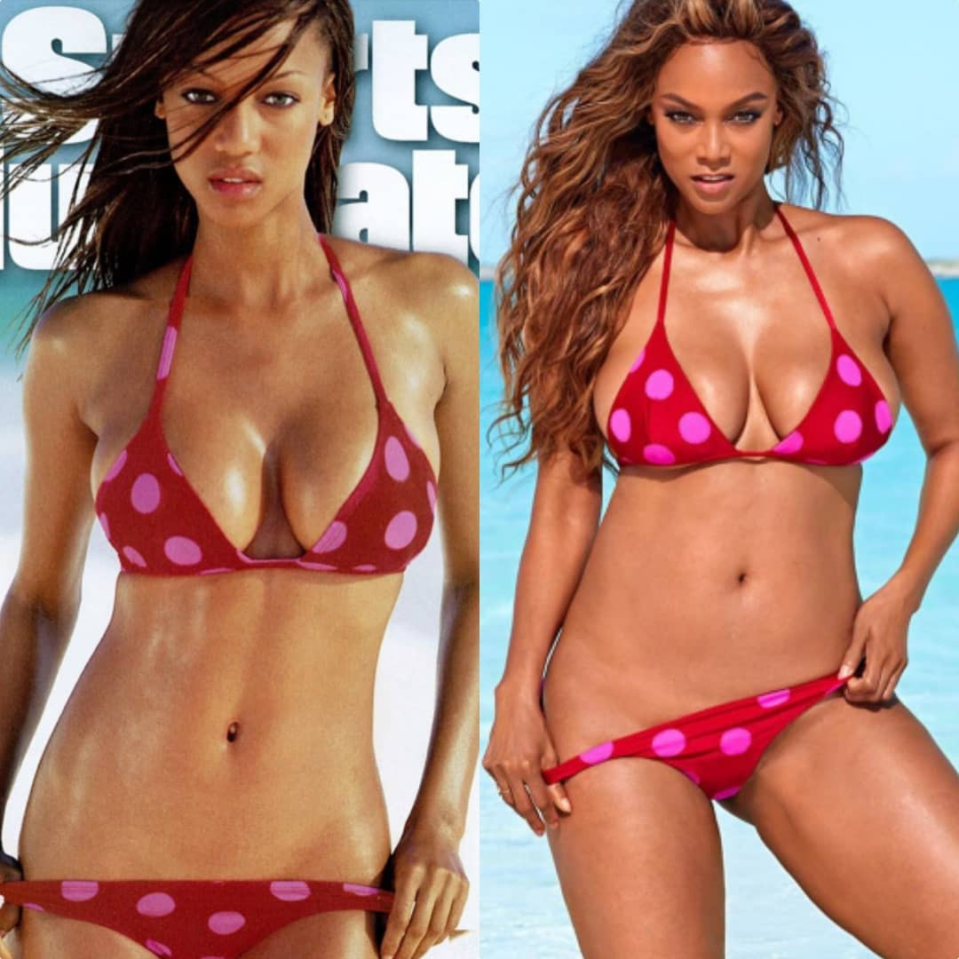 Tyra Banks recreates swimwear photoshoot she did for Sports Illustrated 22 years after