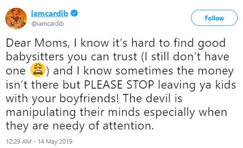 Cardi B warns moms against leaving their babies with their boyfriends