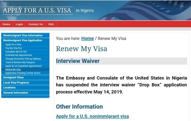 Breaking:?US Embassy suspends visa interview waivers