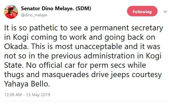 Governor Yahaya Bello Is Empowering Thugs And Masquerades With Jeeps ? Dino Melaye Cries Out