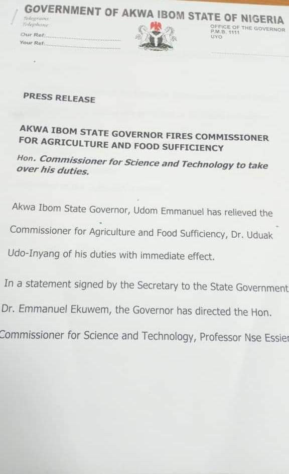 Akwa Ibom State Governor fires Commissioner for Agriculture and Food Sufficiency