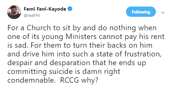FFK berates RCCG after one of its pastors committed suicide