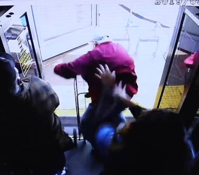Shocking footage shows elderly man fall and die after woman pushed him off bus (Watch)
