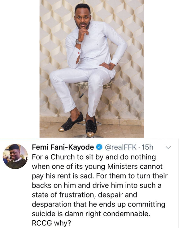 Fani Kayode condemns RCCG after one of its gospel ministers committed suicide over alleged accommodation issues in Abuja