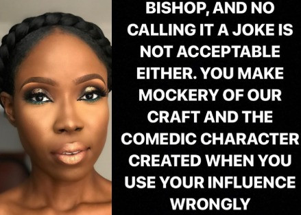 Actress Lala Akindoju-Fregene calls out comedian Okon Bishop over his comment about the Abuja women allegedly raped by policenmen