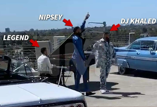 Behind-the-scenes footage shows Nipsey Hussle recording his last music video with John Legend and Dj Khaled before he was killed