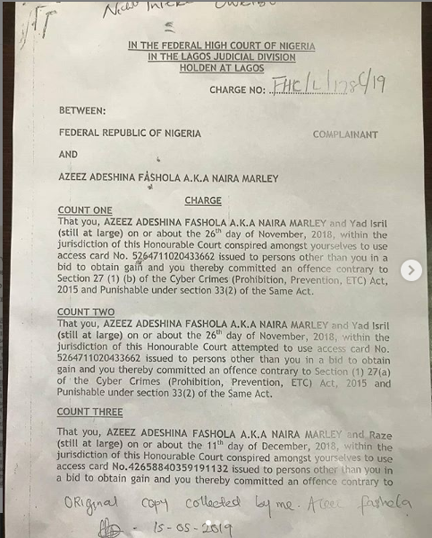 Naira Marley to be arraigned on Monday, as EFCC releases his charge sheet (Photos)
