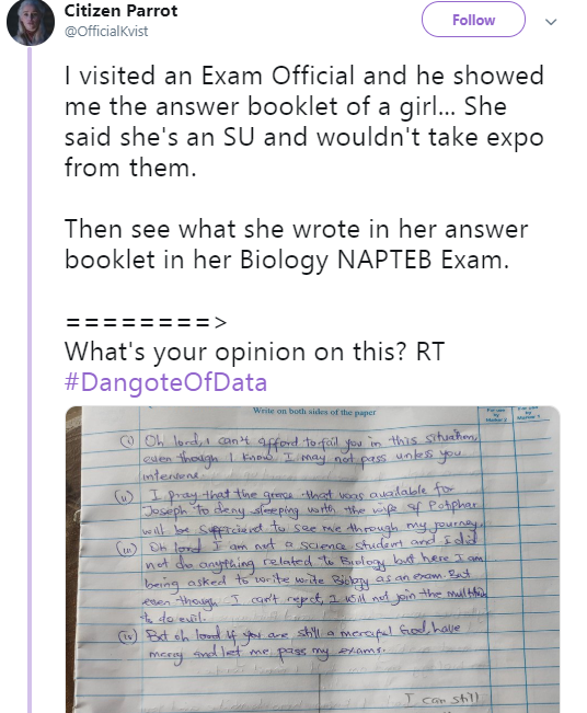 """Check out the shocking answers a """"born again"""" Christian student gave in her biology exams after she refused to accept expo"""