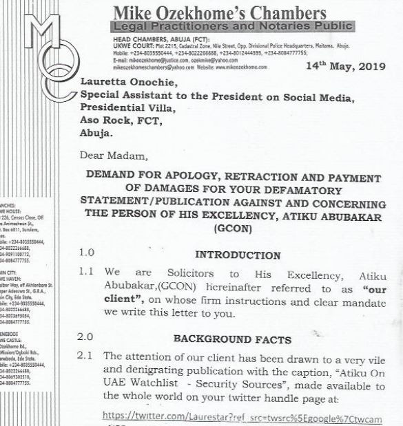 Atiku demands N500m and written apology from President Buhari?s aide, Lauretta  Onochie for ?tweeting lies? about him (See the Letter)