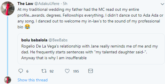 """Woman narrates how her proud dad had the MC read out her qualifications for her to dance out to on her traditional wedding day instead of """"Ada Ada"""""""