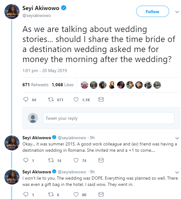 Woman shares the shocking message a bride sent to her on the morning after her lavish destination wedding to ask her for money