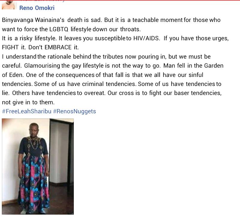 Reno Omokri says death of Binyavanga Wainaina is a teachable moment for LGBTQ supporters