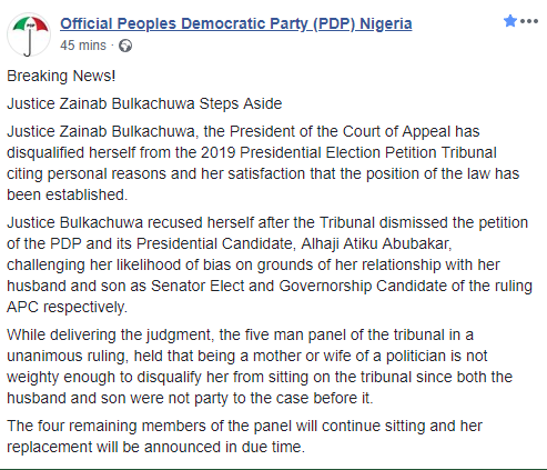 PDP, Reno Omokri react to Justice Bulkachuwa recusing herself from the Presidential Election Petition Tribunal