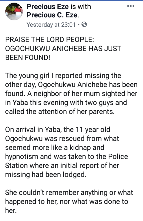 Update: Missing 11-year-old girl found disoriented in Lagos; suspected to have been hypnotized and kidnapped