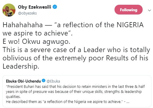 Oby Ezekwesili mocks President Buhari after he said he refused to sack his Ministers because of their unique skills and strength