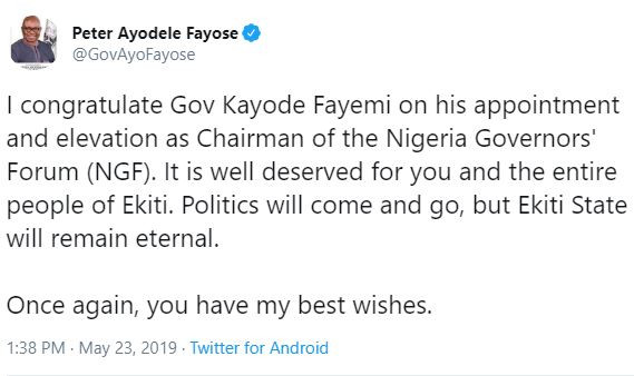 Ayo Fayose congratulates Governor Fayemi on his election as NGF chairman
