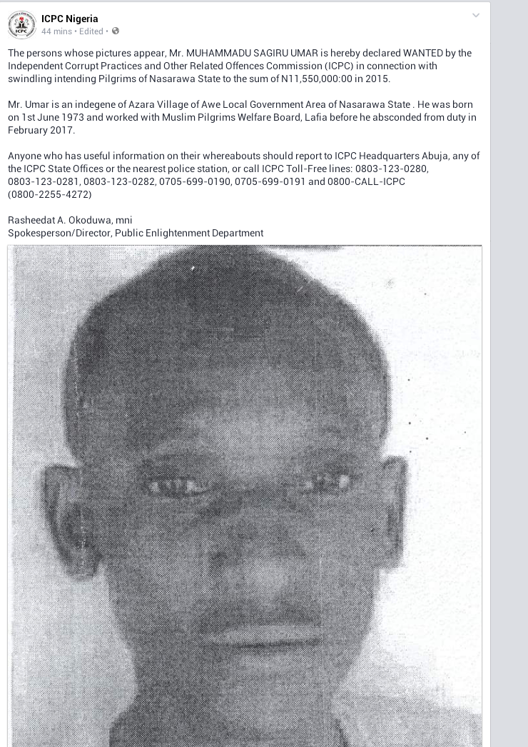 Photo: Man declared wanted by ICPC for swindling intending pilgrims of N11,550,000 in Nasarawa
