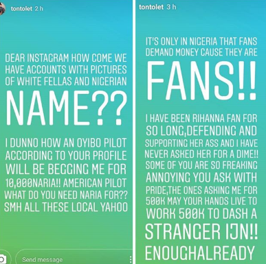 Tonto Dikeh calls out IG users who storm her page to beg for money