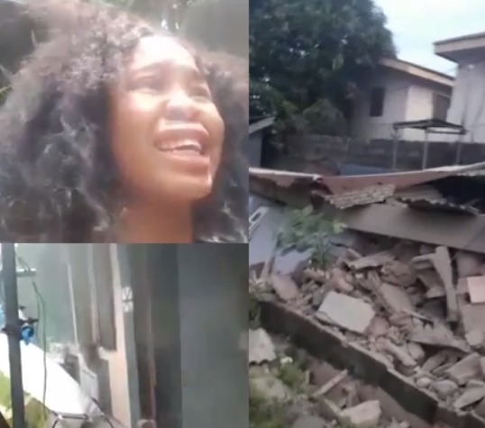 Lady cries out after landlady and caretaker rented house to her, only for it to be demolished by govt a month after she moved in (videos/photos)