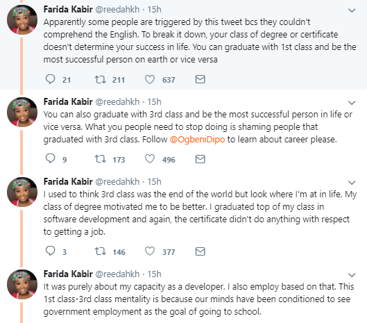 I graduated with 3rd class and I employ people with 1st class and pay salaries- Twitter user shares her unique story