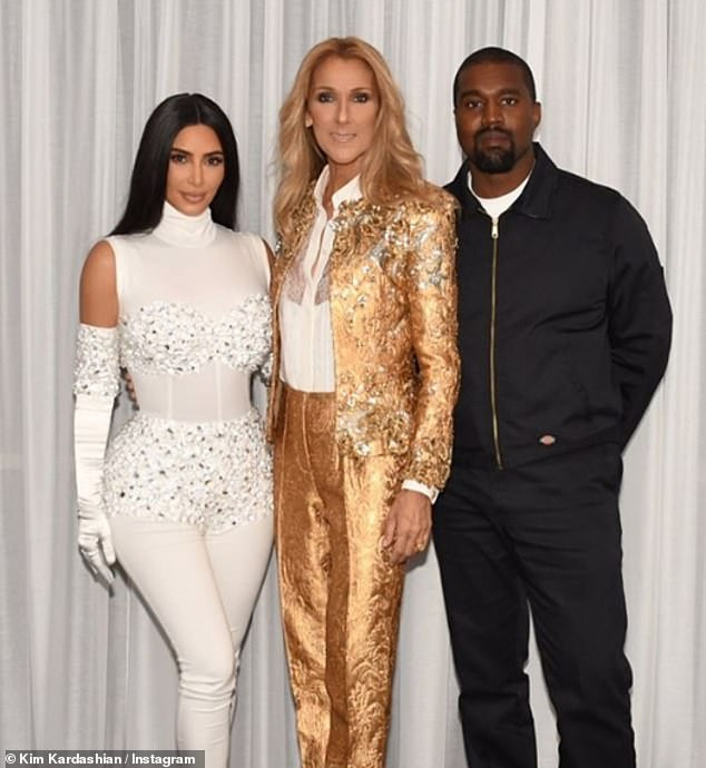 Kim Kardashian stuns in a skintight white catsuit as Kanye West treats her to surprise Celine Dion concert in Las Vegas (Photos)