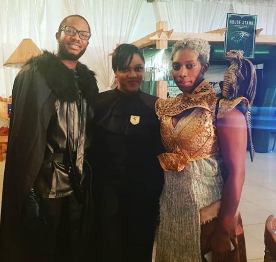 Photos: Banky W, Adesua, Ebuka, Bovi, Linda Ejiofor and hubby, Waje, others dress in their favorite #GameofThrones characters to IK Osakioduwa