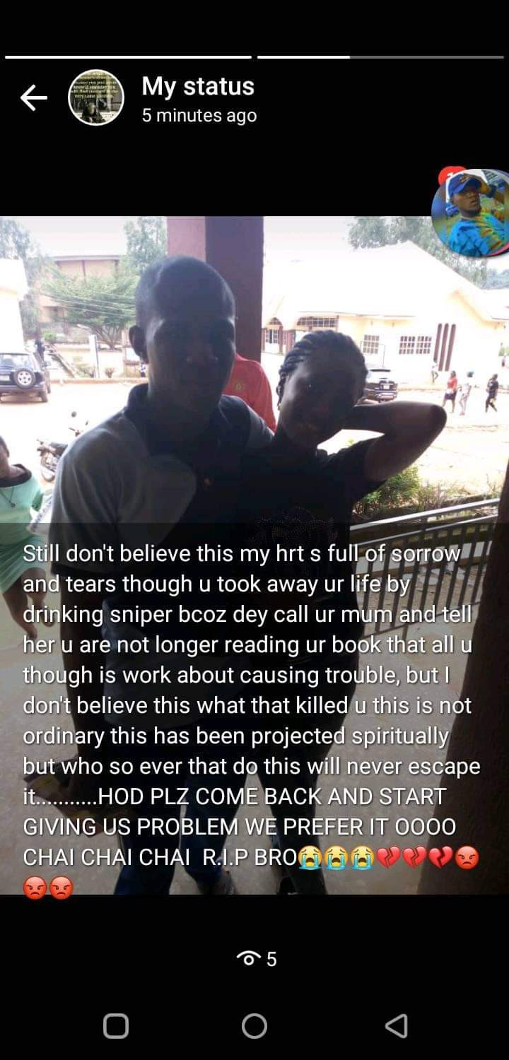 "Student of Federal Polytechnic Oko allegedly commits suicide shortly after telling close friends he was ""going on a journey of no return"