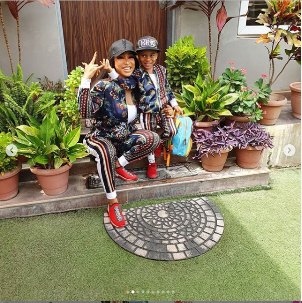 Image result for images of Tonto Dikeh rocks matching tracksuits with her son Andre as she celebrates him on Children's Day