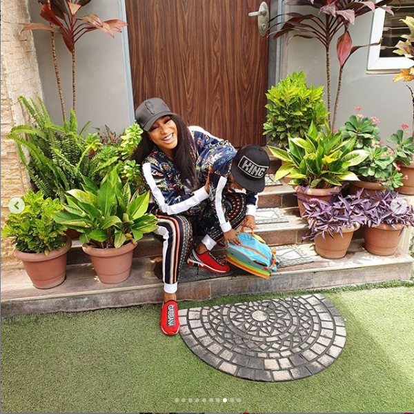 Tonto Dikeh rocks matching tracksuits with her son Andre as she celebrates him on Children