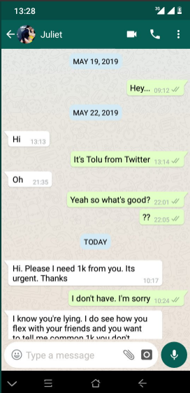 Twitter user shares screenshots of rude messages a woman allegedly sent to him after he refused to give her ?1,000