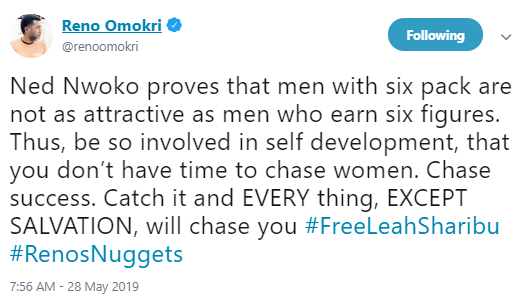 Regina Daniels, husband, Ned Nwoko proves that men with six pack are not as attractive as men who earn six figures- Reno Omokri