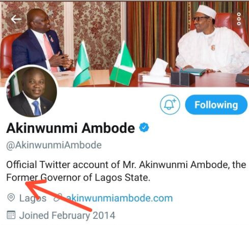 Ambode changes his social media profiles to read