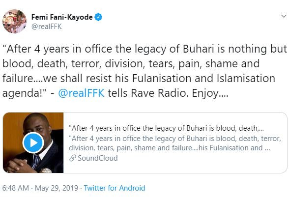 """""""After 4 years in office the legacy of Buhari is blood, death, terror, division, tears, pain, shame and failure"""