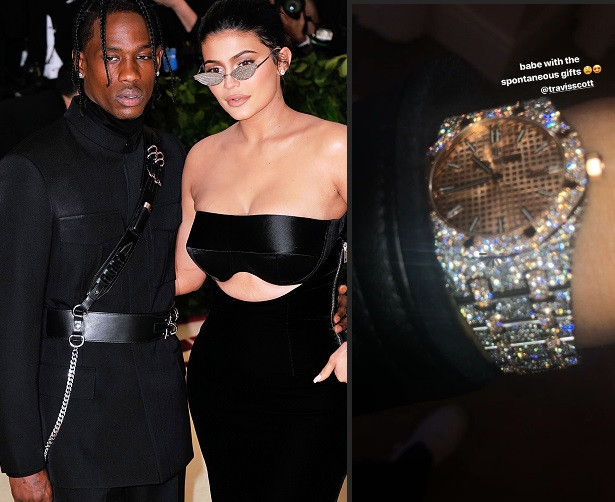 Travis Scott surprises his bae Kylie Jenner with new diamond wristwatch (Photo)